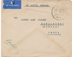 Nederlands Indië - 1946 - FPO 20 - Fieldpost Indian Army - On Active Service - Van Sumatra Naar Rawalpindi / India - Netherlands Indies
