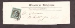 """Napoléon III N° 19 Olive Sur Bande Pour Journal """"Chronique Religieuse"""" - Toulouse Pour Belcastel Par Lavaur - 1849-1876: Klassieke Periode"""