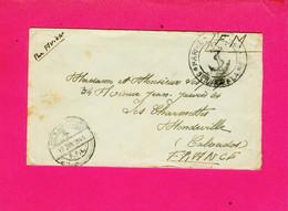 LETTRE  FM. POSTE AUX ARMEES.  MARINE NATIONALE  SERVICE A LA MER  BEYROUTH POUR CALVADOS. 12 JANVIER 1946 - Guerra De 1939-45