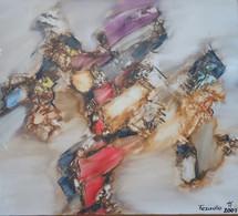 TEZADIO - Abstraction, 2001, Acrylique/toile - 44,5 X 40 Cm En Caisse Américaine - Hêtre Rose - Oleo