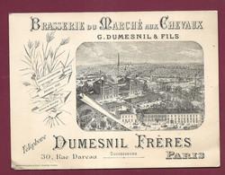 130321 - CARTE DE VISITE ANCIENNE - 75 PARIS 30 Rue Dareau DUMESNIL Brasserie Marché Aux Chevaux Bière Taverne Expo 1889 - Ambachten In Parijs