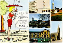 Wasquehal 5 Vues Et Femme Sous Parapluie: ( église , Mairie ? école ? Monument Aux Morts ... - Otros Municipios