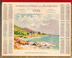CALENDRIER GF 1935 - Plage De BARBICAJA, Environs D'Ajaccio, Dessin René Picar (calendrier Double Couverture) - Big : 1921-40