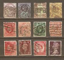 Grande-Bretagne - Perfins - Perforés - Petit Lot De 12° - Victoria - Edouard VII/VIII -  Georges V - Georges VI - QEII - Kilowaar (max. 999 Zegels)