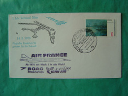 Concorde -- FRANKFURT-- Oblitération 14-3-1973 - Cachet Air-France - BOAC - IRAN Air - Marcofilia - EMA ( Maquina De Huellas A Franquear)