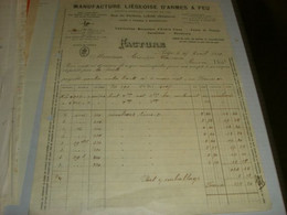 FATTURA MANUFACTURE LIEGEOISE D'ARMES A FEU 1909-BELGIQUE - Italy