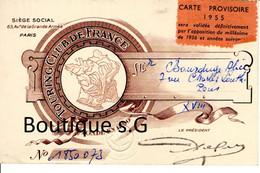 Carte Membre Touring Club De France Bourduge 1955 Paris Douane Bicyclette Motocyclette Plein Air Groupe - Documentos Históricos