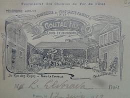 FACTURETTE - 60 - DEPARTEMENT DE L'OISE - TOURBIERE DE PONT ST MAXENCE - PARIS 1913 - COUTAL FILS, BOIS & CHARBONS - Ohne Zuordnung