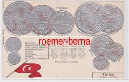 85928 Präge Ak Mit Münzabbildungen Türkei Um 1920 - Monedas (representaciones)