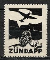 1942 Deutsches Reich Moto Zündapp Revenue Cinderella Vignette Propaganda Postfrisch - Erinnofilie
