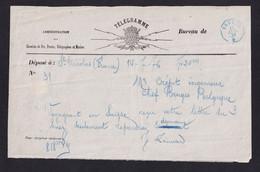 DDY 803 --  Formule De Télégramme ST NICOLAS France VersTélégraphique Bleu  BRUGES 1876 - Pour Crépit , Ingénieur Chef - Telegraph