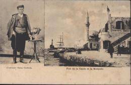 CPA Grèce Crète Costume Grec Cretois Port De La Canée Et La Mosquée Editeur E.A. Cavaliero La Canée - Greece