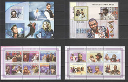 NS 2008 GUINEA-BISSAU STARS MUSIC AFRICAN BEATLES ROLLING STONES !!! 2BL+2KB MNH - Music