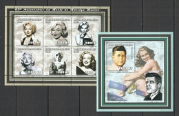 NS0078 2002 MOZAMBIQUE TRIBUTE TO LEGENDARY MARILYN MONROE & KENNEDY BL+KB MNH - Actors