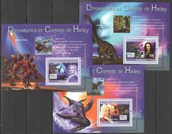 NS445 2007 GUINEE GUINEA FAUNA SPACE PREHISTORIC ANIMALS DINOSAURS HALLEY 3BL MNH - Preistorici