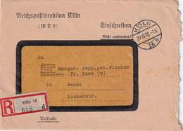 ALLEMAGNE 1938 LETTRE RECOMMANDEE EN FRANCHISE DE KÖLN AVEC CACHET ARRIVEE BEUEL - Storia Postale