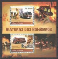 BC933 2011 S.TOME E PRINCIPE FIRE TRUCKS AS VIATURAS DOS BOMBEIROS 1BL MNH - Trucks
