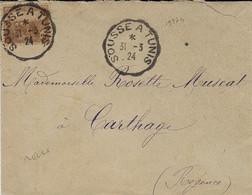 1924 Enveloppe Affr. 20 C Oblit. Conv. Ligne SOUSSE A TUNIS - Unclassified