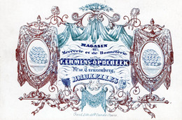 Magasin De Mercerrie & Bonneterie F.Ermens-Opdebeek Treurenberg BRUXELLES Lith. Vande Steene  10,5x7 Cm - Porcelana