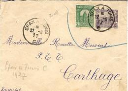 1927 Enveloppe E P 15 C + 5 C   Oblit. Conv. Ligne SFAX A TUNIS - Unclassified