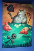 """The Gambler"" By Rumyantsev - Modern Russian Postcard - Playing Cards - Cat - Skull - Carte Da Gioco"