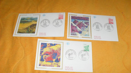 LOT 3 ENVELOPPES FDC DE 1995../ CACHETS REGIONS NATURELLES DE FRANCE..BRETAGNE, CAMARGUE, AUVERGNE + TIMBRE - 1990-1999