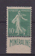 FRANCE : N° 188 A * . TYPE SEMEUSE . PUB MINERALINE . B . 1924/26 . - Publicidad