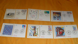 LOT 6 ENVELOPPES FDC DIVERS DE 1995./ LA FUSEE ARIANE, SIDERURGIE LORRAINE, AUTOMOBILE CLUB DE FRANCE, ECOLE DES LANGUES - 1990-1999