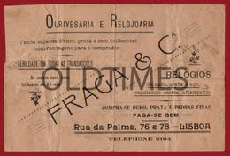 "PORTUGAL - LISBOA - FACTURA - OURIVESARIA E RELOJOARIA "" FRAGA & Cª "" - 1921 INVOICE - Portugal"