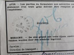 IEPER Ypres Heropbouw. VRACHTBRIEF Chemins De Fer Spoorwegen INGELMUNSTER 5 NOVE 1919 Levering Hout - Zonder Classificatie