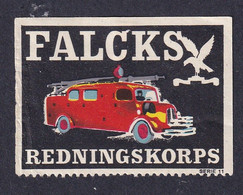 Denmark Poster Stamp  FALCK RESCUE CORPS FIRE ENGINE - Cinderellas