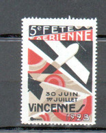 Erinophilie, Vignette Aviation, 5e Fete Aerienne Vincennes 1928 - Aviation