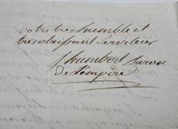 L.A.S. Humbert De Fercourt, Général, Baron De L'Empire, Silésie, Juillet 1808 - Handtekening