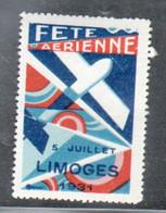 Erinophilie, Vignette Aviation, Fete Aerienne Limoges 1931 - Aviation