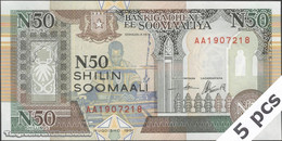 TWN - SOMALIA R2a - 50 N-Shilin Soomaal 1991 DEALERS LOT X 5 - Prefix AA UNC - Somalia