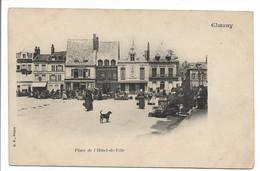CPA AISNE 02 CHAUNY PLACE DE L'HOTEL DE VILLE ANIMEE MARCHE CAFE TABACS B F PARIS - Sonstige Gemeinden