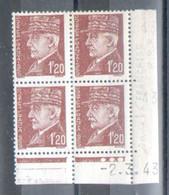 Y Et T N°515 En Coin Daté 2.3.43, Variete: Manque Le I De Française Dans Le Timbre Inferieur Gauche - 1940-1949