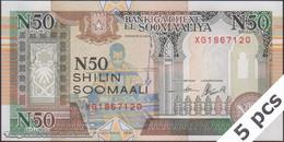 TWN - SOMALIA R2c - 50 N-Shilin Soomaal 1991 DEALERS LOT X 5 - Prefix XG - Unauthorized UNC - Somalia