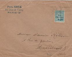 CAISSE AMORTISSEMENT YT 247 SEUL SUR LETTRE PARIS 01/09/2? POUR MONTBELIARD DOUBS - 1921-1960: Moderne