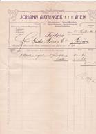"""Fattura Comm  -  Wien  ,  Vetri E Specchi  """" Johann Arminger """"  -   Formato Cm. 23,0 X 29,5 - Austria"""