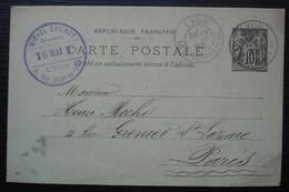 Lyon 1899 Entier Postal Avec Cachet De Michel Cailhot Graveur - 1877-1920: Periodo Semi Moderno