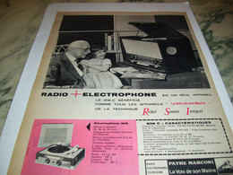 ANCIENNE   PUBLICITE RADIO + ELECTROPHONE  PATHE MARCONI 1959 - Altri