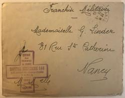 LSC De 1915 Avec Rare Cachet De Hopital Auxiliaire 166 De Paris Croix Rouge FM WW1 Pour Nancy Union Des Femmes De France - Guerra Del 1914-18