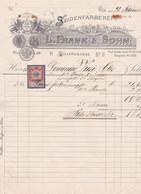 """Fattura Comm. Con Marca Da Bollo  -  Wien  ,  Tintura Della Seta  """" L. Frank  &  Sohn """" -   Formato Cm. 22,6 X 29,5 - Austria"""