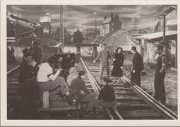 C.P.- PHOTO - METIERS - CINEASTE ACTEURS DECORATEUR LORS DU TOURNAGEDE LA VETE HUMAINE EN 1938 - REPRODUCTION - Artesanal