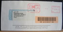 STPN1128-BUSTA DA CIB COMMERCIAL INTERNATIONAL BANK EGYPT - ANNULLO GRANDE MECCANICO ROSSO + TASSA 0260 - EGITTO - CAIRO - Cartas