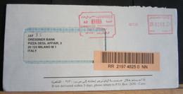 STPN1130-BUSTA DA CIB COMMERCIAL INTERNATIONAL BANK EGYPT - ANNULLO GRANDE MECCANICO ROSSO + TASSA 0260 - EGITTO - CAIRO - Cartas