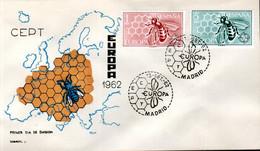 FDC ESPAGNE 1962 - SERIE COMPLETE - L'ABEILLE ET L'ALVEOLE DE LA RUCHE -  EMISSION EUROPA - - Bienen