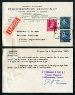 Lettre EXPRES De NINOVE Vers La Suisse (1937) - Léopold III (Portman + Col Ouvert) - Brieven En Documenten
