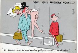 """Illustrateur  Alexandre / En Pleine .. """" Nuit De Noce  """" Me Dire Qu""""il Y A Erreur ... De Chambre ! - Alexandre"""